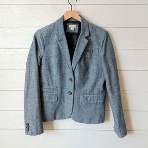 J Crew Blue Chambray 2 Button Blazer Size 6